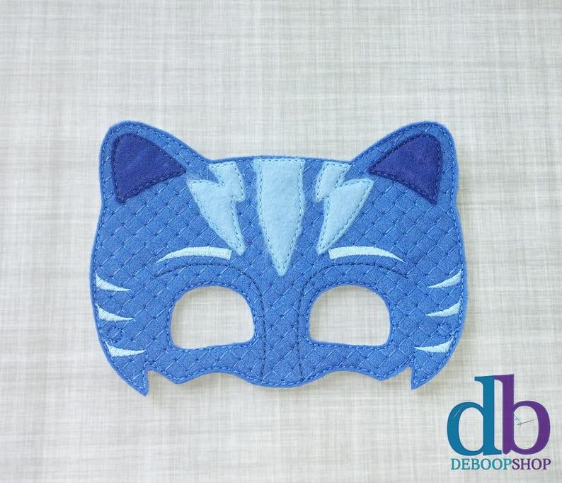 Cat Felt Embroidered Mask  Blue Cat Mask  Kid & Adult  image 0