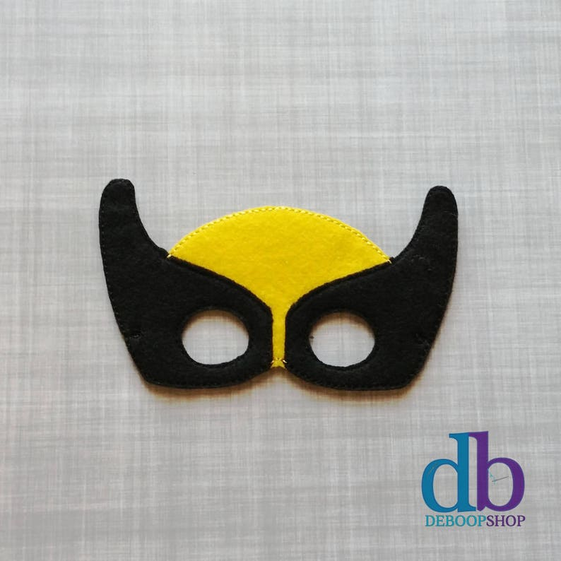 Wolverine Hero Felt Embroidered Mask  Kid & Adult  Pretend image 0