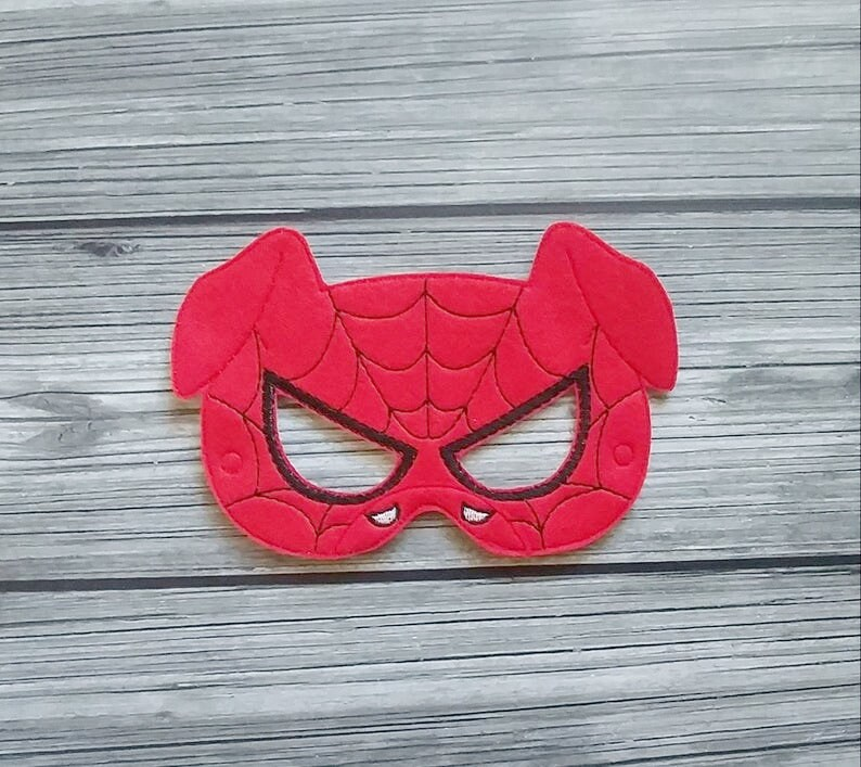 Spider-Ham Inspired Felt Embroidered Mask Animal Spiderman image 0