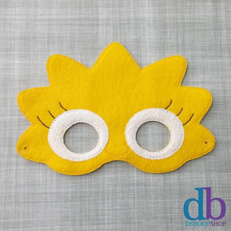 Girl Felt Embroidered Mask  Lisa Mask  Kid & Adult  Pretend image 0