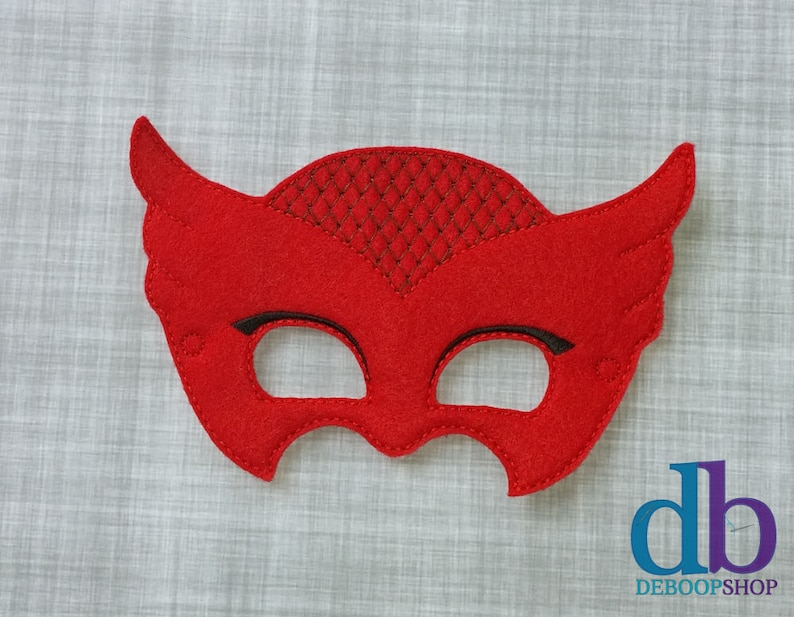 Red Owl Felt Embroidered Mask  Kid & Adult  Pretend Play  image 0