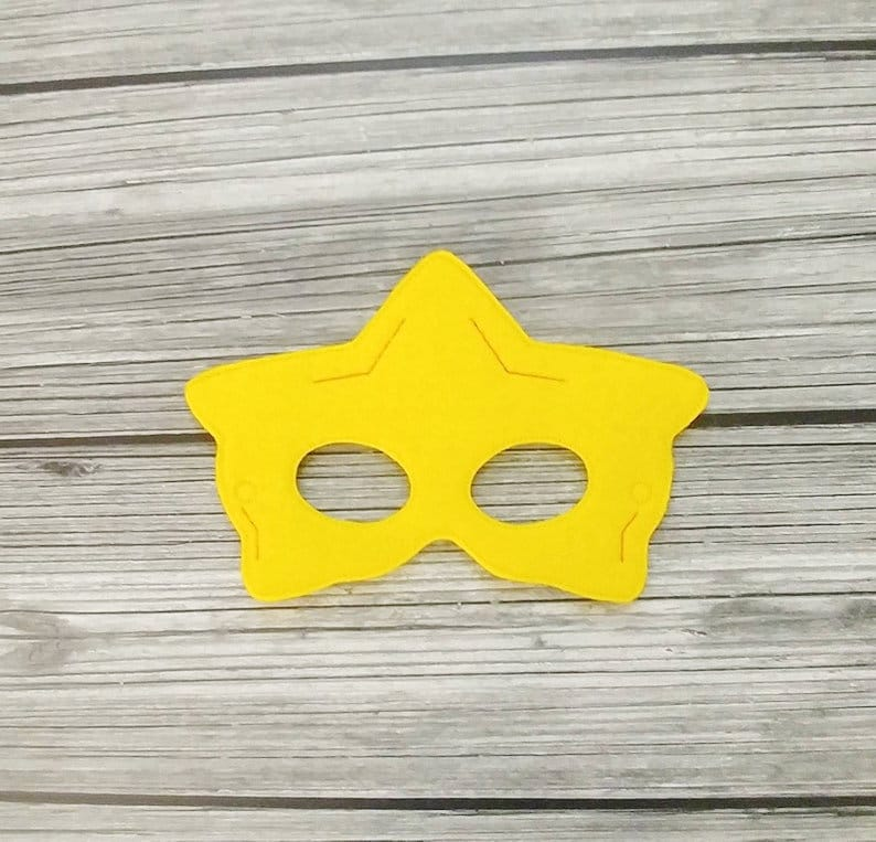 Super Star Embroidered Felt Mask Mario Star Mask  Kid & image 0