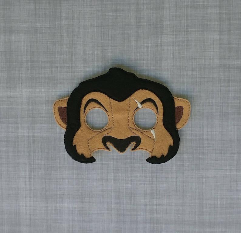 Scar  Lion Guard Inspired Felt Embroidered Mask  Lion image 0