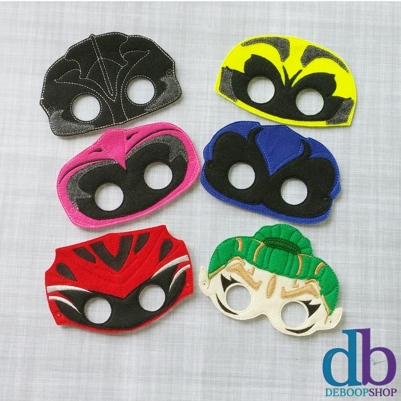 Set of 6 New Power Ranger Felt Embroidered Masks  Kid & Adult image 0