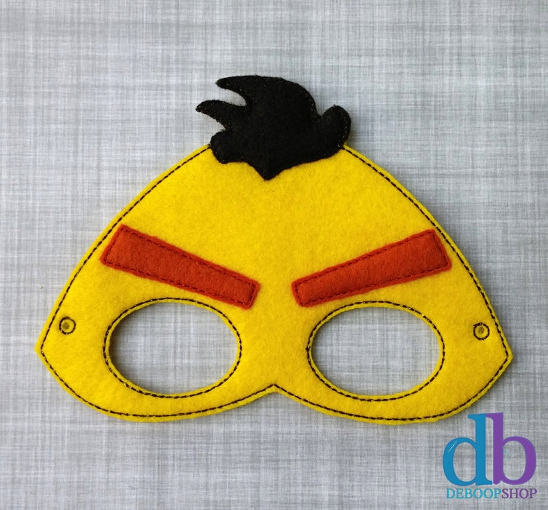 Bird Felt Embroidered Mask  Angry Yellow Bird Mask  Kid & image 0