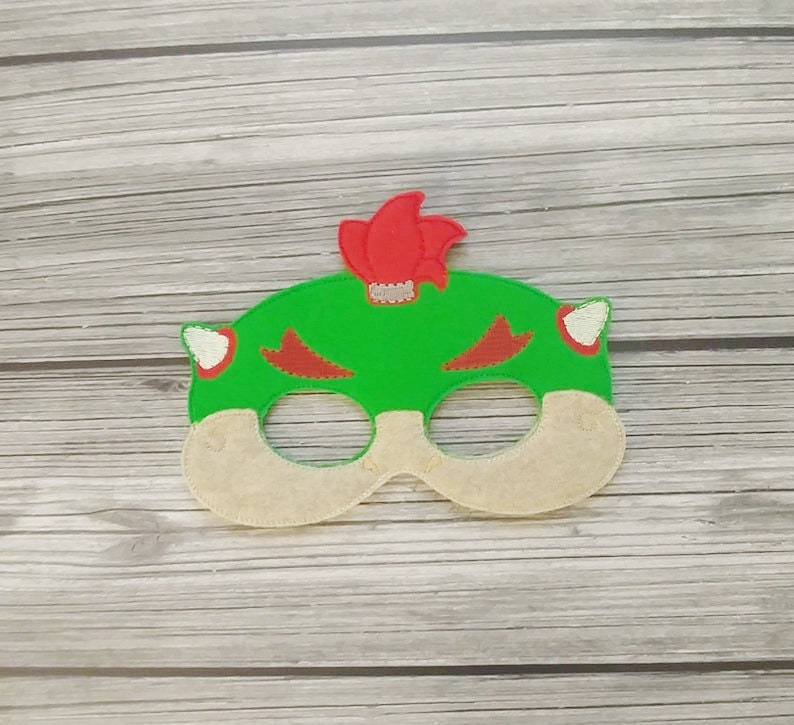 Bowser Jr Embroidered Felt Mask Kid & Adult Mask  Pretend image 0