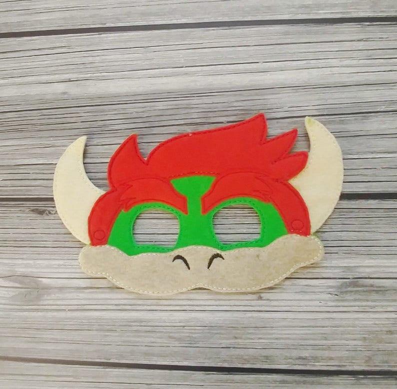 Bowser Embroidered Felt Mask Kid & Adult Mask  Pretend Play image 0