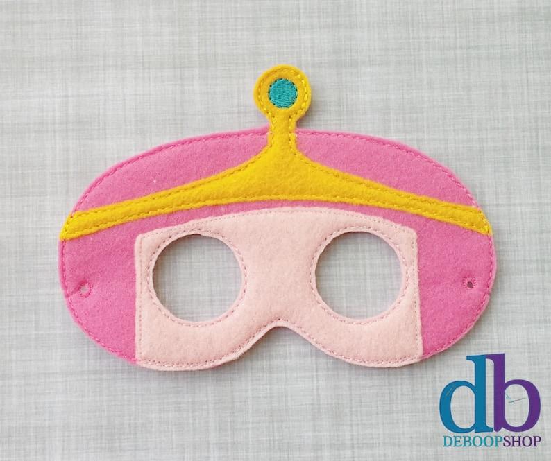 Pink Princess Felt Embroidered Mask  Kid & Adult  Pretend image 0
