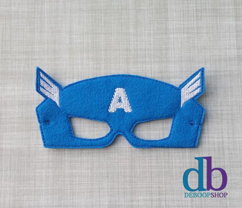 America Hero Felt Embroidered Mask  Kid & Adult  Pretend image 0