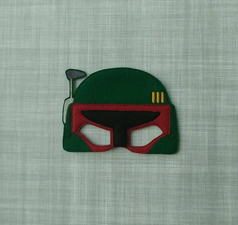 Boba Fett Inspired Felt Embroidered Mask  Kid & Adult  image 0