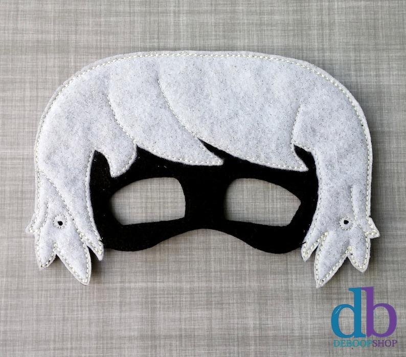 Girl Felt Embroidered Mask  Luna Mask  Kid & Adult  Pretend image 0