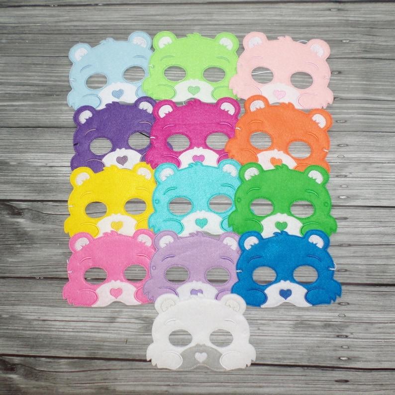 Bear Felt Embroidered Mask  Caring Bear Mask  Kid & Adult  image 0