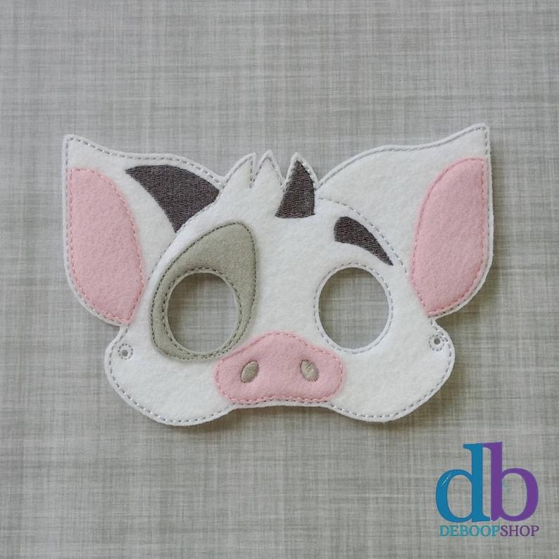 Pig Felt Embroidered Mask  Island Pig Mask  Kid & Adult  image 0