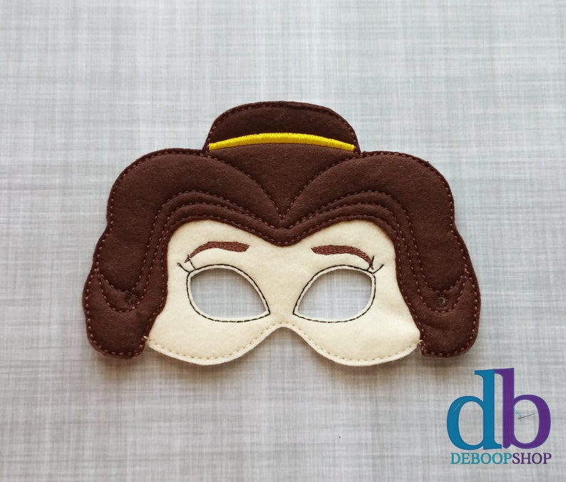 Felt Embroidered Mask  Belle  Beauty & the Beast Inspired  image 0