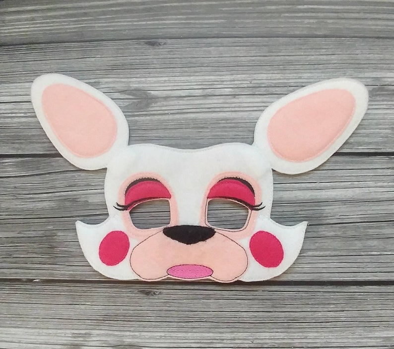 Fox Felt Embroidered Mask  Mangle the White Fox Mask  Kid & image 0