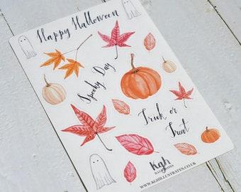 Autumn stickers, Autumn Leaves Stickers, Halloween Stickers, Fall Stickers, Pumpkin Stickers, Ghost Stickers, Planner Stickers, Scrapbook