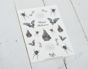 Halloween stickers, Bat Stickers, Spider Stickers, Spider Web Stickers, Fall Stickers, Planner Stickers, Scrapbook