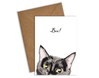 Black Cat Halloween Card, Black Cat Card, Halloween Card, Halloween Cards, Cat Card, Boo Card