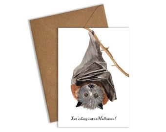 Hanging Bat Halloween Card, Bat Card, Halloween Card, Halloween Cards, Lets hang out on Halloween