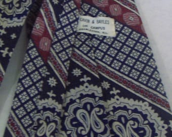 """VINTAGE - Wide Width Business Tie, 'Cavin & Bayles on Campus' Brand Polyester Necktie, Navy, Red and White Medallion Scroll Print, 55"""" long"""