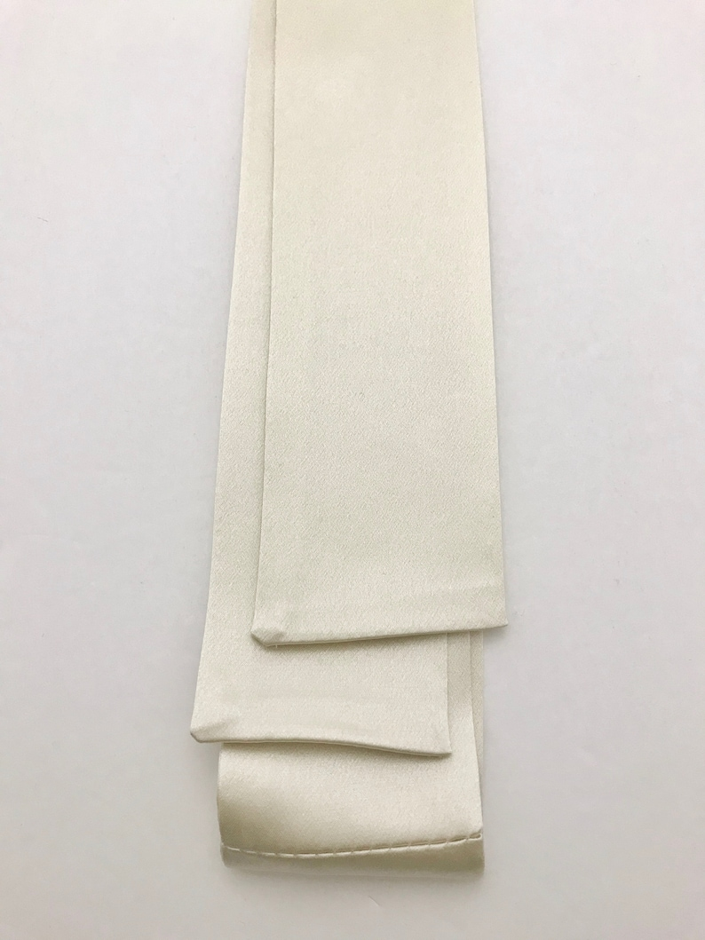Wedding Attire Long Ascot Tie in Ivory Silk Satin Fabric with Square Edges for Victorian Cosplay