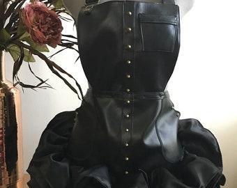 The Stylist Apron - detachable bib apron, Artist, Custom Apron,  barber apron, stylist apron, salonwear, studs, spikes, apron couture