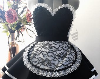 French Maid Apron, Halloween Costume, French Maid Costume, Sexy Apron, Honeymoon lingerie, bachelorette gift, bridal apron, gift for her