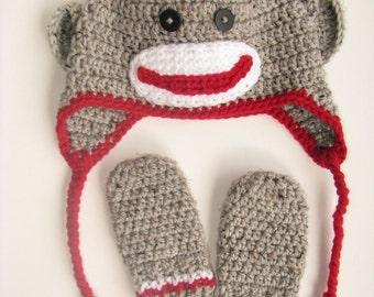 Sock Monkey Hat & Mittens Set