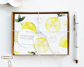 Hand-Painted Lemon Notecards, Lemon Thank You Cards, Watercolor Lemon Notecards, Lemon Stationery, Bridal Shower Thank You Cards