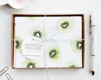 Hand-Painted Stationery Set, Watercolor Thank You Cards, Watercolor Stationery, Watercolor Notecards, Kiwi Notecards, Kiwi Stationery