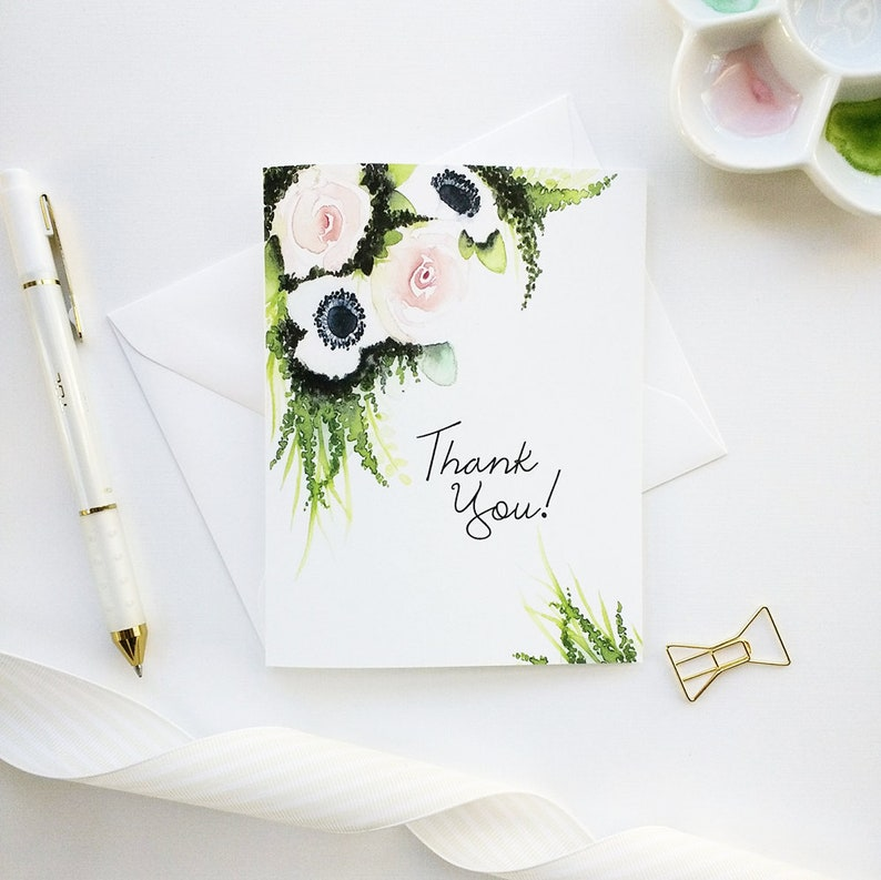 Watercolor Notecards Watercolor Card Set Handmade Bridal Shower Thank You Cards Watercolor Stationery Hand-Painted Thank You Cards