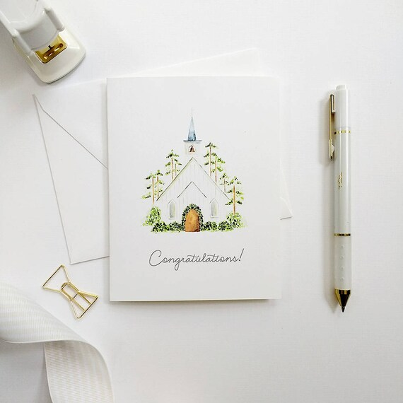 Wedding Congratulations Card Bridal Shower Card Hand Painted Etsy