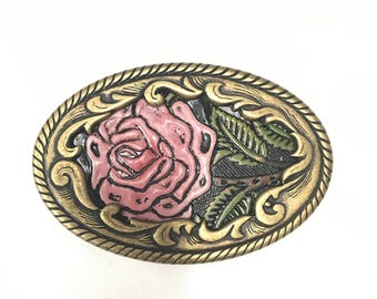 Rose Custom Metal Belt Buckle