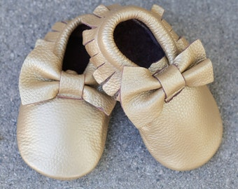 Genuine Leather Mac&Lou Baby Toddler Moccasins Fringe Bow Babies Booties Shoes Baby Shower Gift Christmas Gift Gold