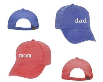 1cea7fe155073 Mom   Dad Unstructured Dad Hat Gift or Baby Announcement Light Pink Navy  and White or Your Color Choice