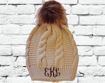 08474974a8542 Custom Pom Pom Beanies Tan Cable Knit Hats Monogram Hats Custom Embroidery  Hats
