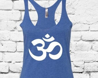 a32365b17dc59 Om Yoga Tank Women's Racer back Tank Top Beach Workout Summer Graphic Tee  Soft Fitted Custom Colors with Long Length
