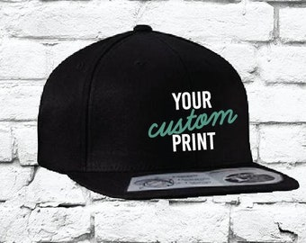 Custom Embroidery Flexfit Snapback Hat with Your Custom Print Flat Bill  High Profile Hat 110F 0eac5ccef5ae