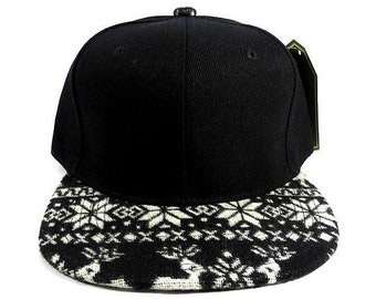 f8e58fdd569 Custom Embroidery Aztec Snapback Black and White Color Two-tone Aztec Hat  Your Custom Text or Logo Winter Argyle