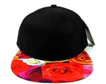 f9cccbfe7c1 Custom Embroidery Floral Snapback Pink Rose Flower Brim Floral Hat Black Cap  with Multicolor Brim