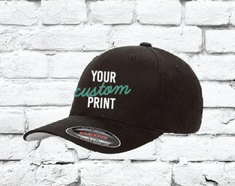 6e1c1e9206aa46 Flexfit Fitted Baseball Cap Custom Embroidery Your Custom Print Low Profile  Fitted Hat 6377
