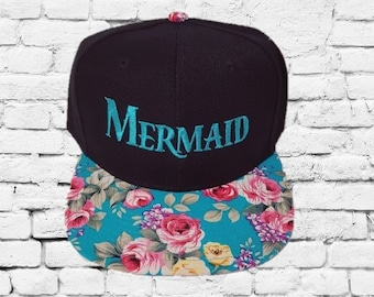 c732db7e Mermaid Hats Teal Floral Snapbacks Black and Rose Flowers Floral Hats  Couple Hats