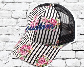 CC Trucker Hat Custom Embroidery Pink Floral Striped Cap Your Custom Print  Mesh Back Trucker Hat 0d3355e44951