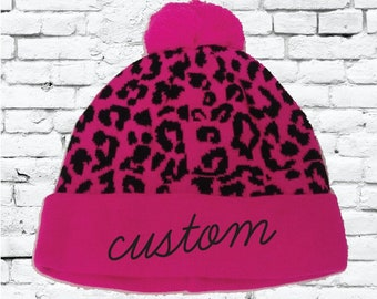 03a82a0d33a Personalized Pink Leopard Pom Pom Beanies Throwback Beanie Skull Cap Custom  Hot Pink and Black Leopard Knit Hats