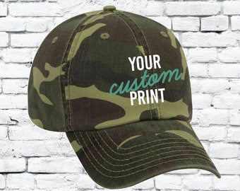 32d177676f7 Custom Embroidery Camo Snapback Camoflauge Hunting Brim Hat Cap Green Camo  Hat Dad Baseball