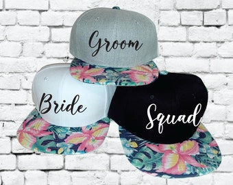7a852d1a Bride and Groom Squad Snapbacks Hawaiian Floral Print Snapbacks Bachlorette Party  Hats Wedding Party Hats