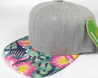 ea7ffd2f Custom Embroidery Heather Grey Floral Snapback Print Navy Brim Hawaiian  Hibiscus Black Hat Adjustable Custom Cap Flower Allover