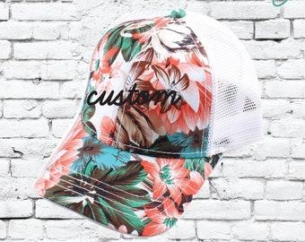 CC Trucker Hat Custom Embroidery Pink Floral Maui Cap Your Custom Print Mesh  Back Trucker Hat 564527080248