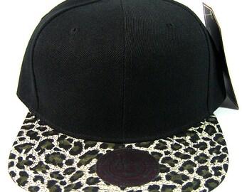 0532b841232 Custom Embroidery Leopard Hat Snapback Cheetah Brim Solid Sueded Brush Cap  Black Hat Personalized Lid