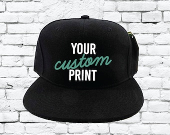 Custom Embroidery Snapback Hat Black Embroidered Hat Your Color Choice  Custom Embroidery Solid Black Flat Bill Snapback fd58c67d66cd